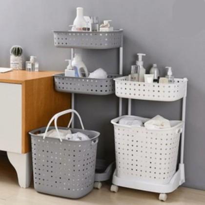 3 Tiers Laundry Basket Organizer Kitchen Bathroom Rack with Wheels