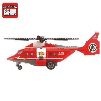 Enlighten 905 Sea Rescue Teams Fire Boat Helicopter Building Block Toy