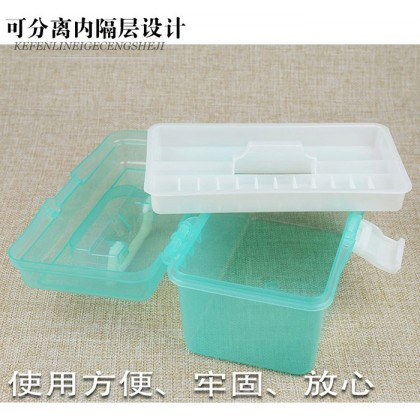 Multifunction 2 Layer Transparent Plastic Portable Kit Tackle Jewelry Tool Box Storage Case Small