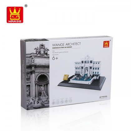 Wange 7014 Architect Fontana Di Trevi of Roman 3D Building Block DIY Toy Gift