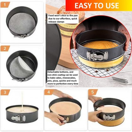 (3 Design in 1 Set) Cake Mould Non Stick Round Love Square Shape Baking Pan Tool Cheese Cake Bakeware Acuan Cake