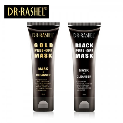 Dr-Rashel Gold & Black Peel-Off Mask 2 in 1 Remove Blackheds Pure Luxury Lift & Firm Mask 80ml x 2