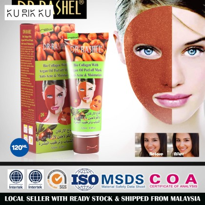DR.RASHEL Face Mask Argan Oil Peel Off Facial Mask With Bio Collagen Anti-Acne Whitening Deep Clean Pore 120ml