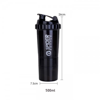 500ml Spider Sports Cup Three-Layer Storable Spider Protein Shaker Sports Water Bottle
