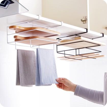 Iron Metal Cabinet Chopping Cutting Board Storage Rack Wall-mounted Hanging Shelf Back Door Hook Hanger Kitchen Storage Holder