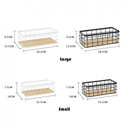 Iron Metal Wooden Utility Storage Spice Rack Organizer Basket