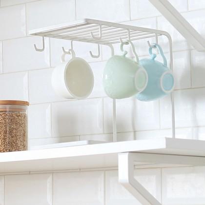 Iron Metal Coffee Cup Hanger Plate Storage Mug Cup Rack Organizer