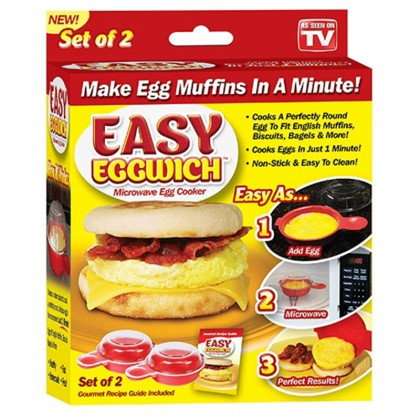 2Pcs/ Set Easy Eggwich Cooking Tool Microwave Cheese Egg Cooker Fast Egg Hamburg Omelet Maker