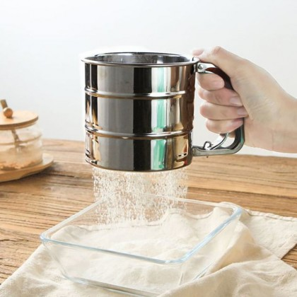 Flour Sieve Hand-Held Stainless Steel Cup Filter Mesh Special Fine Kitchen Baking Tools