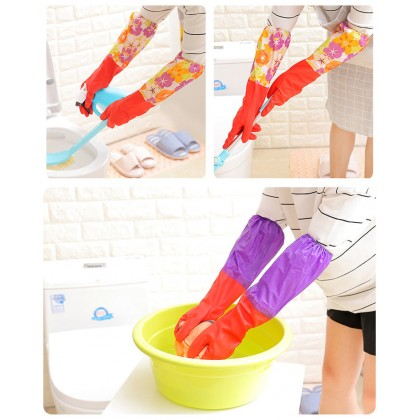 1 Pair Household Waterproof Washing Up Long Sleeve Kitchen Dishes Cleaning Glove