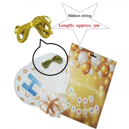 3M Star Ribbon Happy Birthday Banner Cardboard Buntings Flags For Birthday Party Decoration