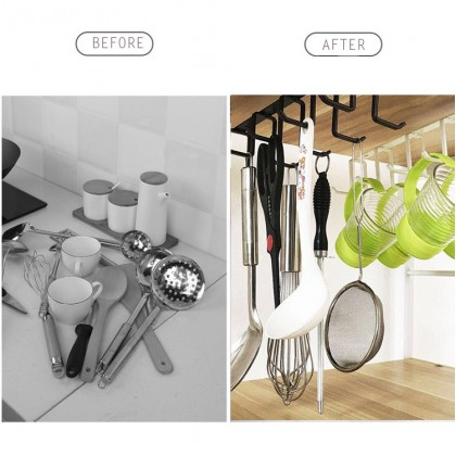 Iron Metal Multi Purpose Cup Mug Hook Hanging Holder Wardrobe Cabinet Under Shelf Storage Rack Organizer Hook Home