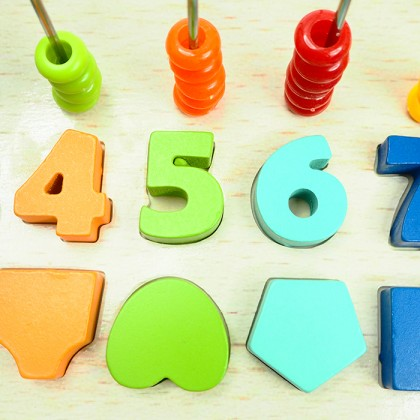 5 in 1 Kids Toy Puzzle Alphabet Number Counting Logarithmic Board Set Macaron Wooden Blocks