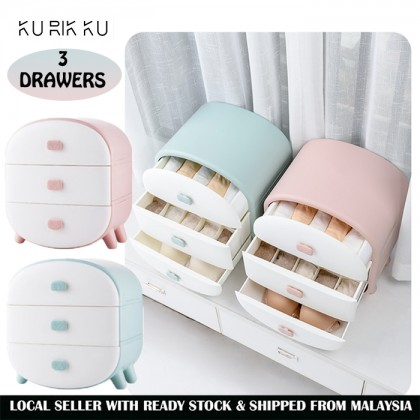 3 Drawers Storage Box for Sock and Underwear Tudung Scarf Shawl Organizer Drawer Cabinet Woman Wardrobe