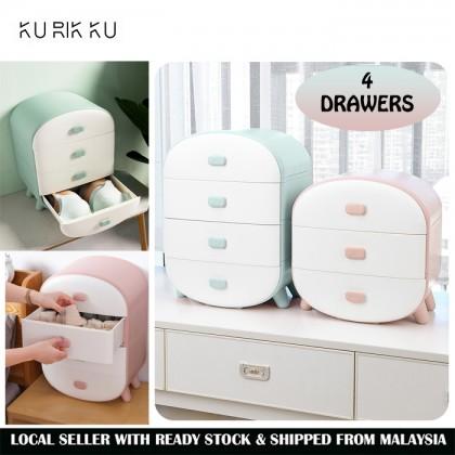 4 Drawers Storage Box for Sock and Underwear Tudung Scarf Shawl Organizer Drawer Cabinet Woman Wardrobe
