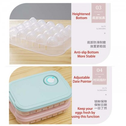 20 Grids Eggs Plastic Storage Box Container Organizer Refrigerator Breathable Fresh Box With Lid