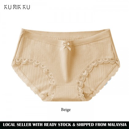 Thread Lace Women Panties Cotton Antibacterial Graphene Crotch Cool Breathable Japanese Middle Waist Panties