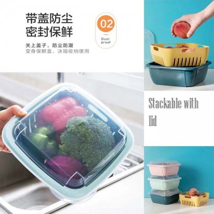 Double Layer Multipurpose Hollow Drain Basket Basin Filter Fruit Vegetable Noodle Washer