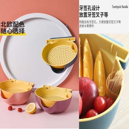 Round Kitchen Double Layer Multipurpose Dish Basin Drain Basket Fruit Vegetable Snack Basket