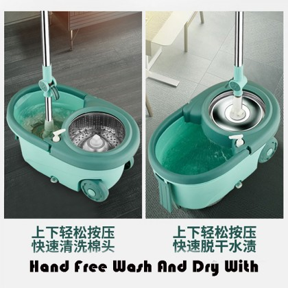Stainless Steel Separable Basket Microfiber Magic Floor Spinning Mop Spin Mop With Wheel