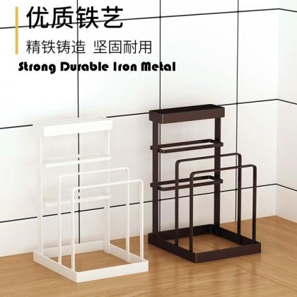 Iron Metal Block Knife Holder Cutting Board Drying Pot Lid Stand Rack Kitchen Organizer