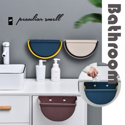 3.5L Semi Round Multi Foldable Hanging Waste Bin Kitchen Cabinet Door Wall Trash Garbage Space Saving Dustbin Storage