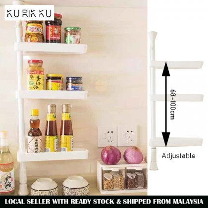 DIY Retractable Single Pole Rotating Spice Rack Seasoning Kitchen Bathroom Space Saving Storage