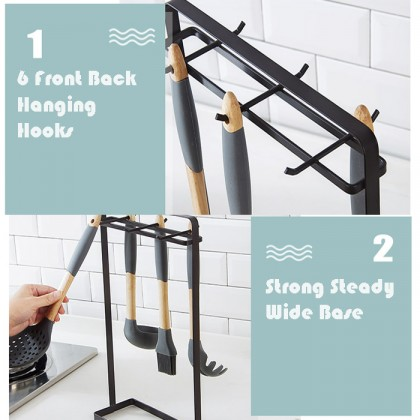 6 Hook Kitchen Cooking Utensil Stand Haning Rack Space Saving Carry Storage Tool Organizer