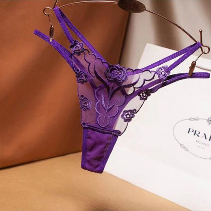 2233 Women Panties Lace Thong Crotch Panties G-String Sexy Underwear Breathable Lingerie Bikini