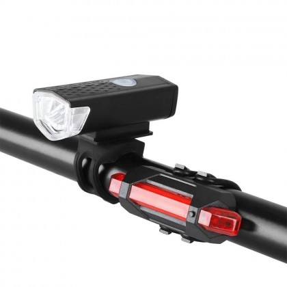 USB Rechargeable LED Front Back Bicycle Light Lamp Flashlight Bike Super Bright 300 Lumen Front Headlight and Rear Tail Light