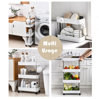 2/3/4 Tier Narrow Space Slide Out Trolley Storage Rack Utility Cart Tower Shelves Kitchen Office Bathroom Organizer