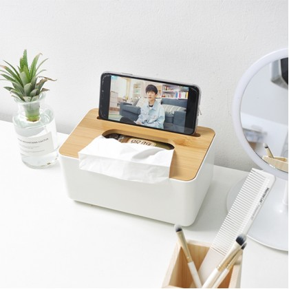 Desktop Wood Bamboo Cover Tissue Box Napkin Face Tissue Holder Paper Towel Case Multi Rack Container Storage