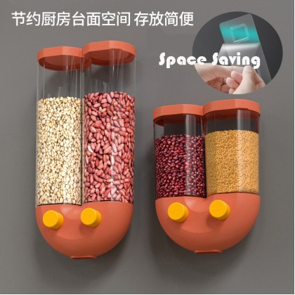 1.3L/2.5L Double Grid Wall Mounted Hanging Grain Rice Storage Tank Cereal Dispenser Corn Flakes Dry Food Storage