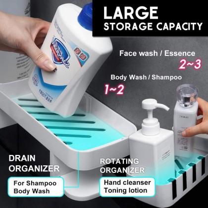 Wall Mount Rotating Kitchen Bathroom Shelf Expandable Shower Caddy Storage Spice Rack No Drill Organizer