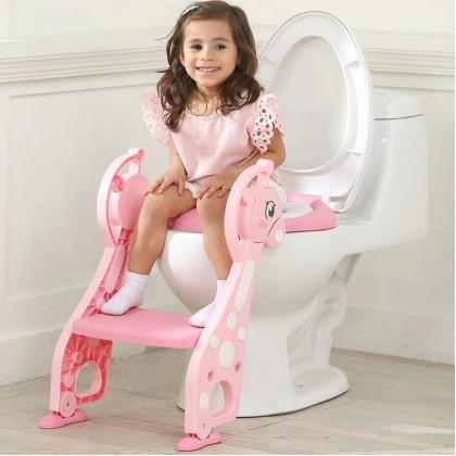 Deer Soft Cushion Seat Children Toilet Baby Potty Training Folding Ladder Toilet