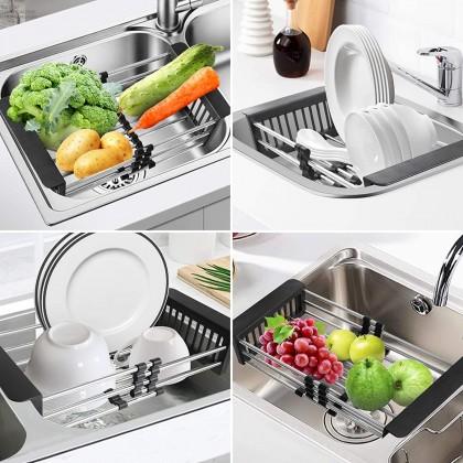 Expandable Dish Drying Rack Multipurpose Stainless Steel Dish Sink Drainer Drainboard Plate Rack Telescopic Drain Basket
