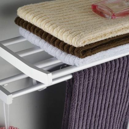 Bathroom Space Aluminium Wall Mount Hanging Towel Rail Folding Rack With Shelf Towel Shelf With Bar and Hook