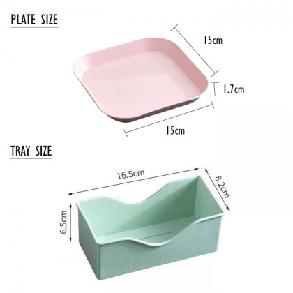 Wheat Straw Food Plate Snack Dishes Salad Dish Plate Tray for Dinner Tableware Cake Plate