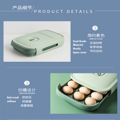 18-21 Grid Egg Storage Box Rolling Drawer Style Household Stackable Breathable Design Egg Container