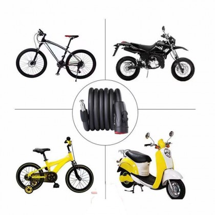 Universal Anti-Theft Locks Bike Locker Long Steel Cable Coil Security Spiral Lock Bicycle Bikes Lock