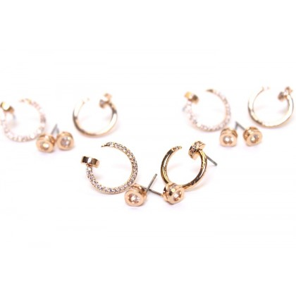 4 in 1 Copper Plating Gold Earrings