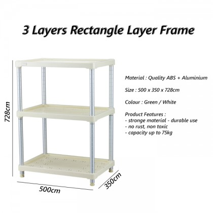 Aluminium Stong  3 Layers Rectangle Frame Storage Rack Home Organiser Self
