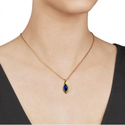 24K Gold London Blue Stone Eye Necklace Pendant