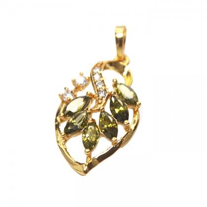 24K Breeze Leave Mint Green Stone Necklace Pendant