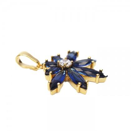 24K Gold Aqua Blue Stone Flower Necklace Pendant