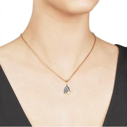 24K Gold Aqua Blue Pretty Peacock Necklace Pendant