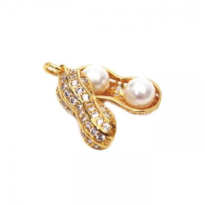 24K Gold White Pearl Golden Peanut Necklace Pendant