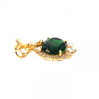 24K Gold Green Treasure Bag Necklace Pendant