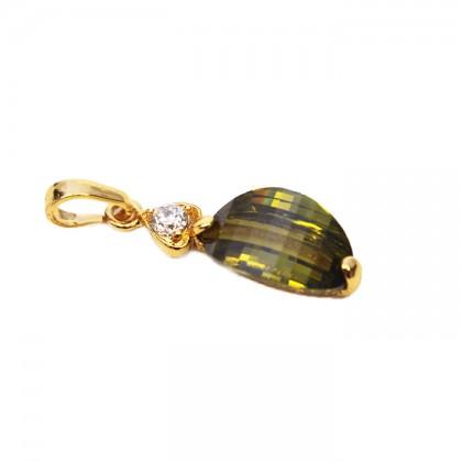 24K Gold Mint Green Simple & Elegance Necklace Pendant