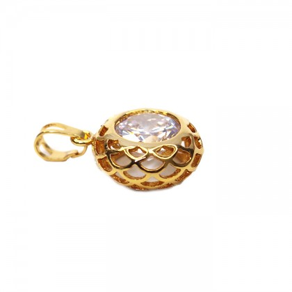 24K Gold Marry Round Circle Necklace Pendant